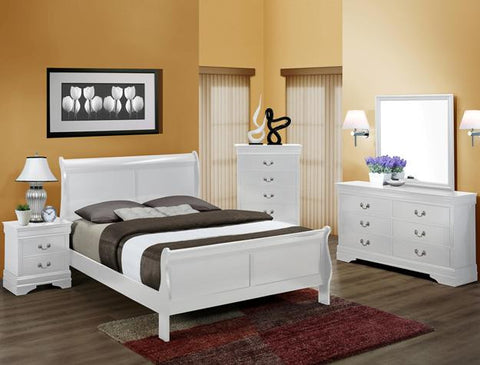 Louis White 5 Piece Bedroom Set