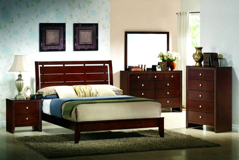 Evan Cherry 5 Piece Bedroom Set