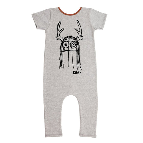 RAGS TO RACHES - Short Sleeve Romper 'Trinny' / Heather Gray