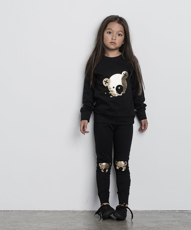 HUXBABY - Gold Bear Legging / Black