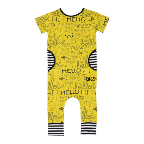 RAGS TO RACHES - Short Sleeve Peek Pocket Romper / Yellow 'Hello'