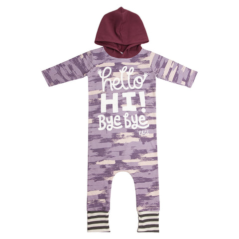 RAGS TO RACHES - Big Purple Brush 'Hello' Hooded Romper (LAST ONE 5/6T)