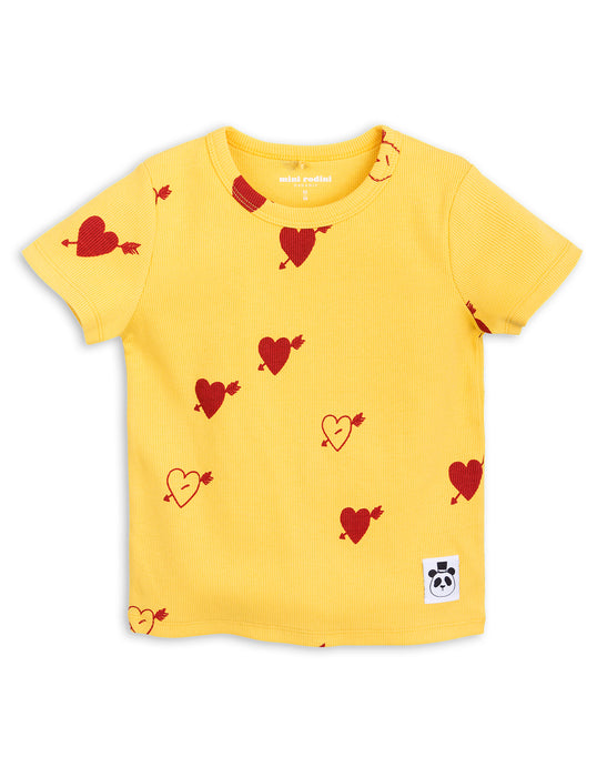 MINI RODINI - Heart Rib Short Sleeve Tee / Yellow