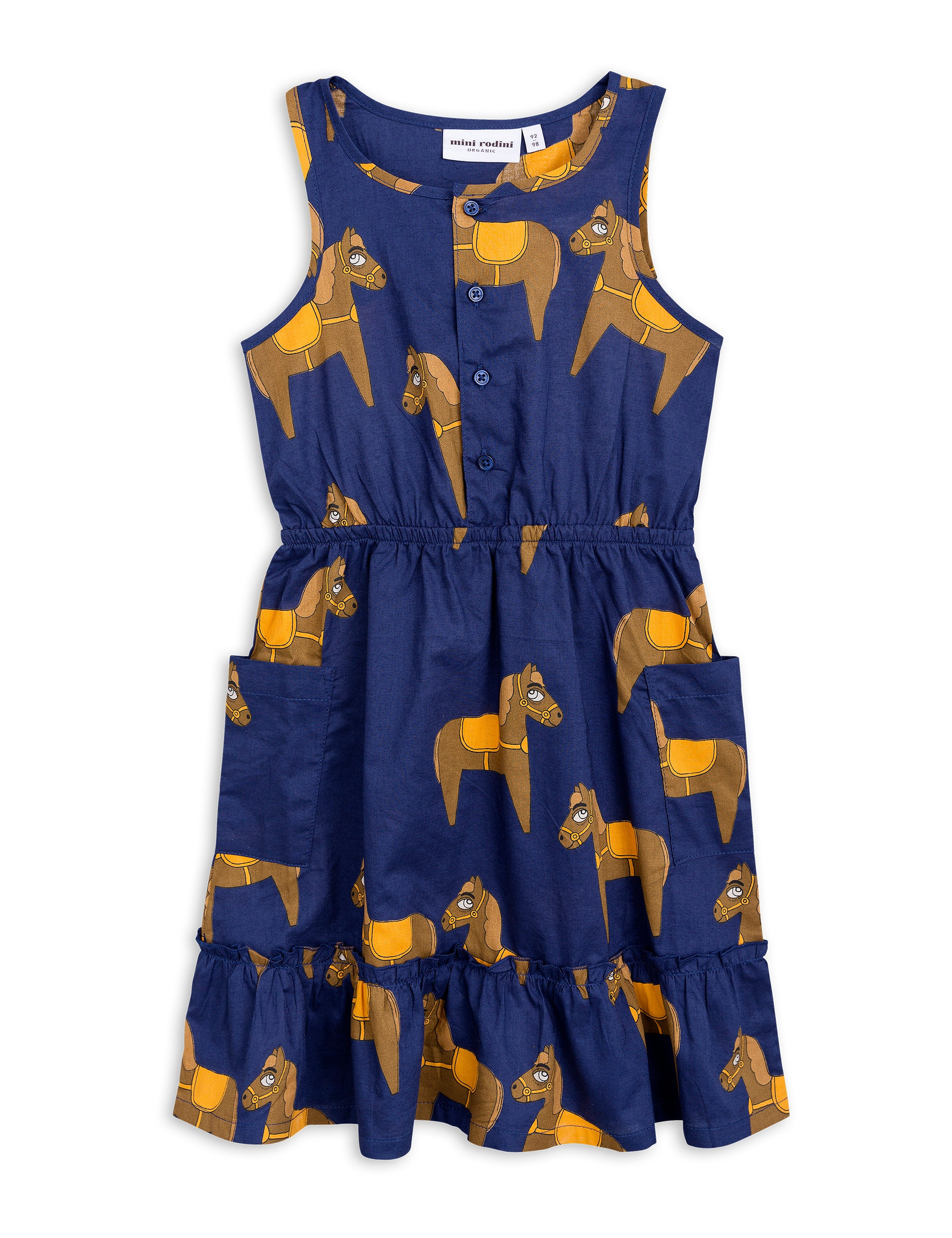MINI RODINI - Horse Woven Flounce Dress / Navy