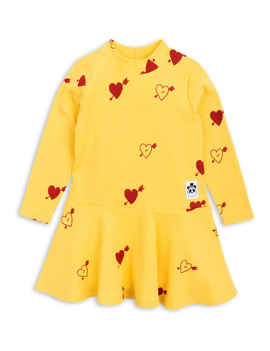 MINI RODINI - Heart Rib Dance Dress / Yellow