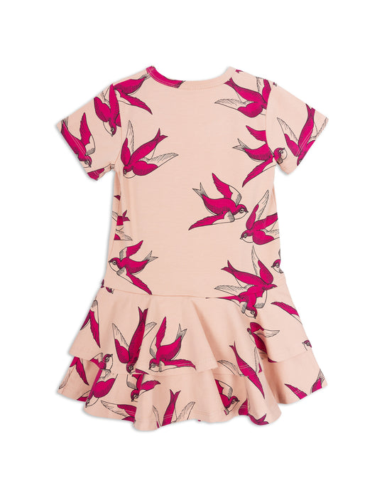 MINI RODINI - Swallows Frill Dress / Pink