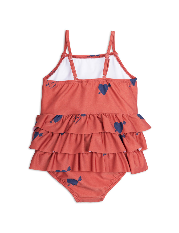 MINI RODINI - Heart Frill Swimsuit / Red