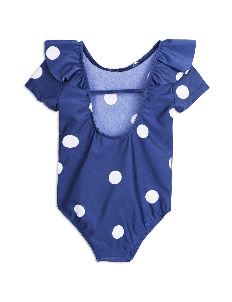 MINI RODINI - Dot Short Sleeve Swimsuit / Navy