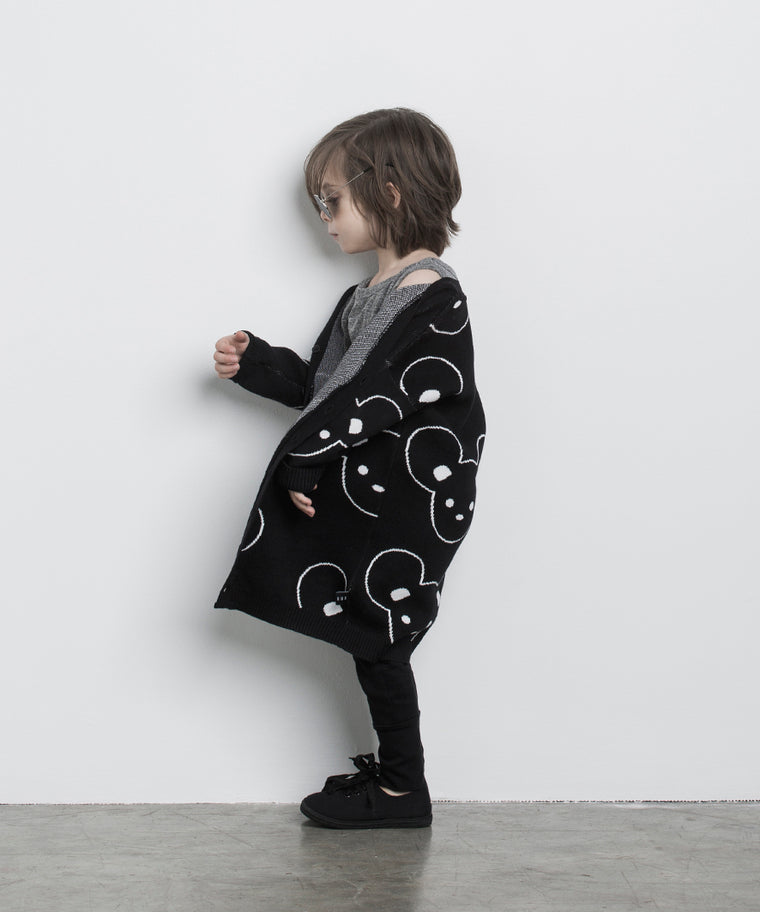 HUXBABY - Mouse Knit Cardi / Black