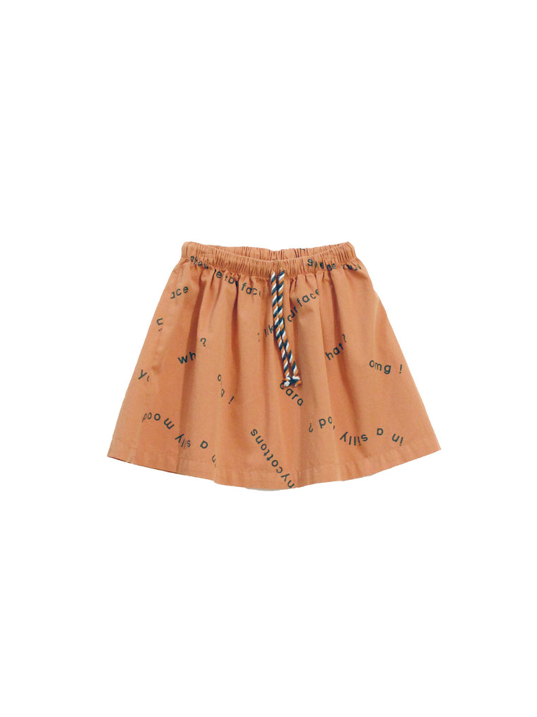 TINY COTTONS - Many Words Woven Skirt / Dark Salmon