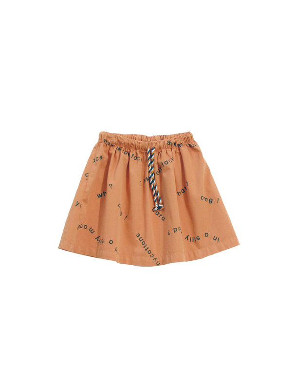 TINY COTTONS - Many Words Woven Skirt / Dark Salmon (LAST ONE 2Y)