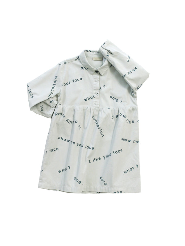 TINY COTTONS - Many Words Woven Dress / Light Blue