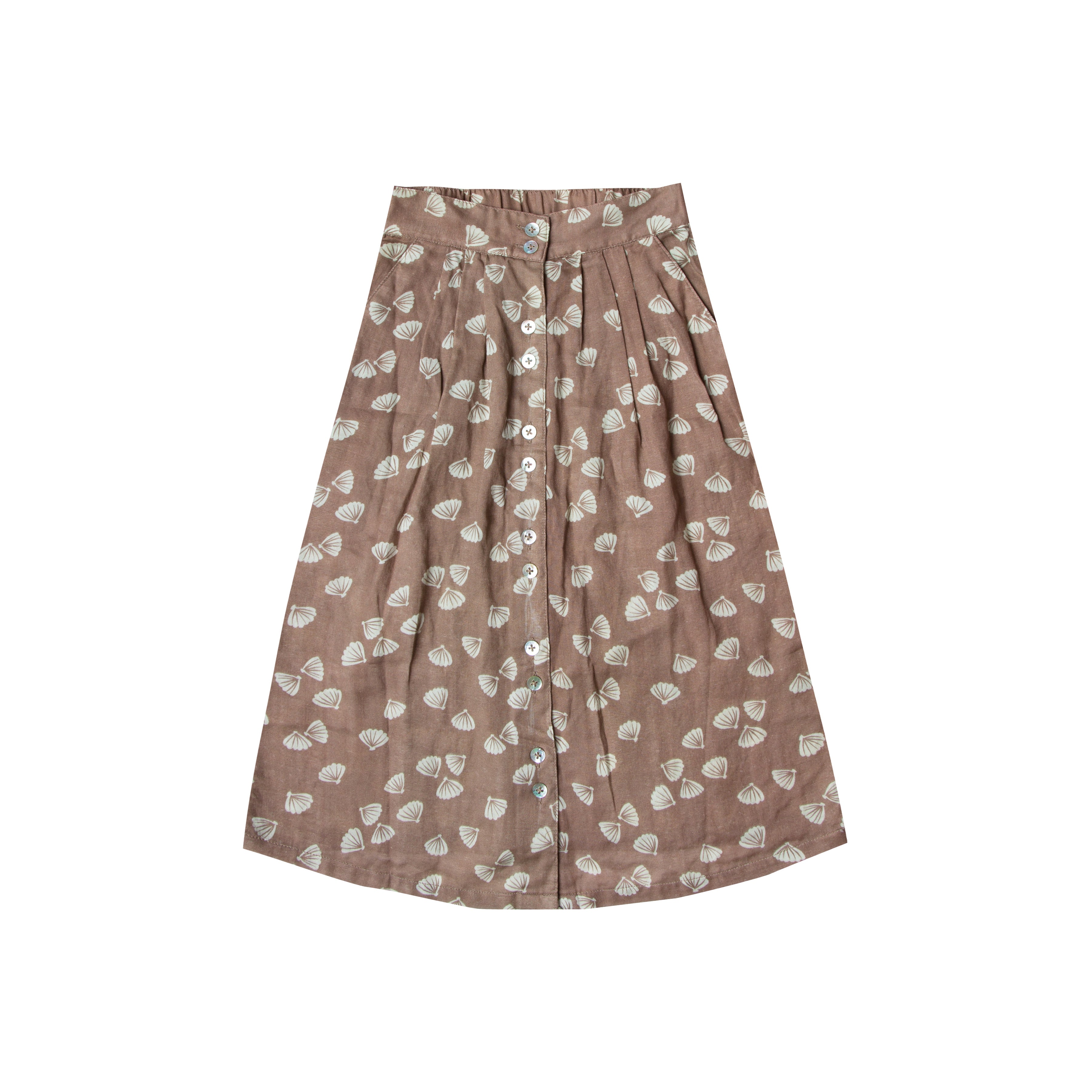 RYLEE + CRU - Seashell Button Front Midi Skirt / Cocoa