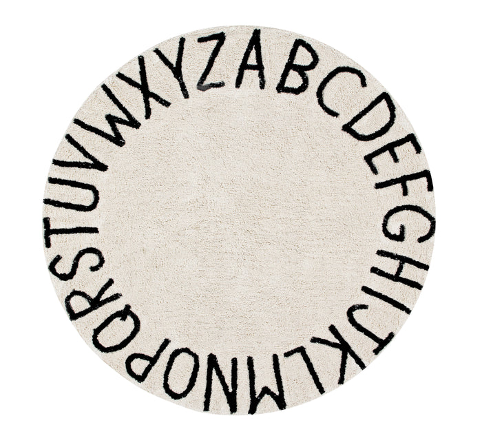 LORENA CANALS - Round ABC Rug / Black + Natural