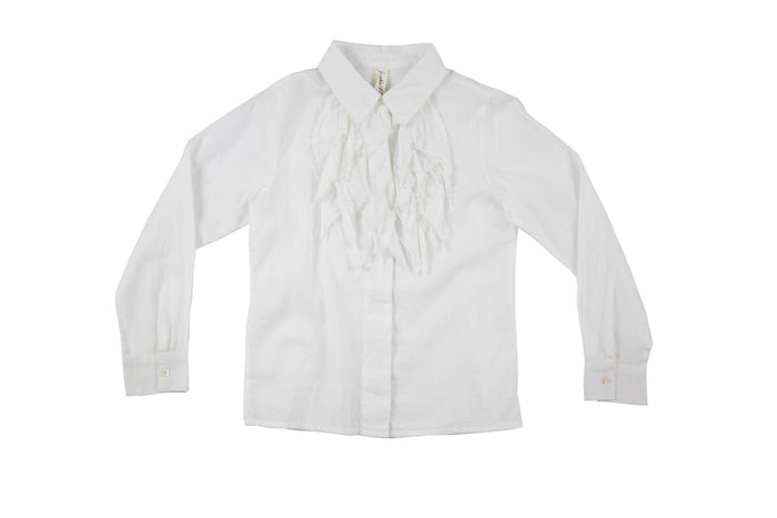 FEATHER DRUM - Elodie Ruffle Blouse / White