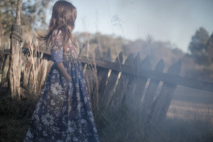 FEATHER DRUM - Emily Long Sleeve Maxi Dress / Flowerfields (LAST ONE 2Y)