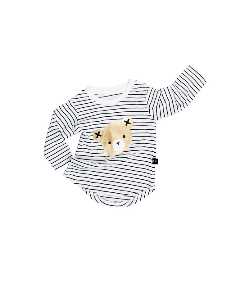 HUXBABY - Stripe Long Sleeve Top / Black + White Stripe