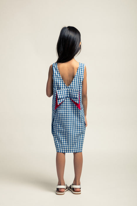 NOCH MINI - Bow Dress / Navy Gingham (LAST ONE 3Y)