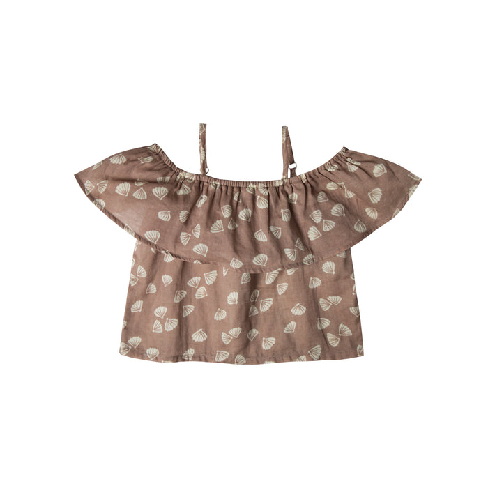 RYLEE + CRU - Seashell Off-The-Shoulder Top / Cocoa