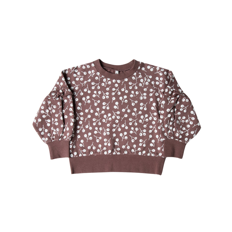 RYLEE + CRU - Winter Berry Puff Sleeve Sweatshirt / Plum