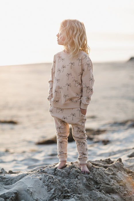 RYLEE + CRU - Palm Trees Sweatshirt / Pearl