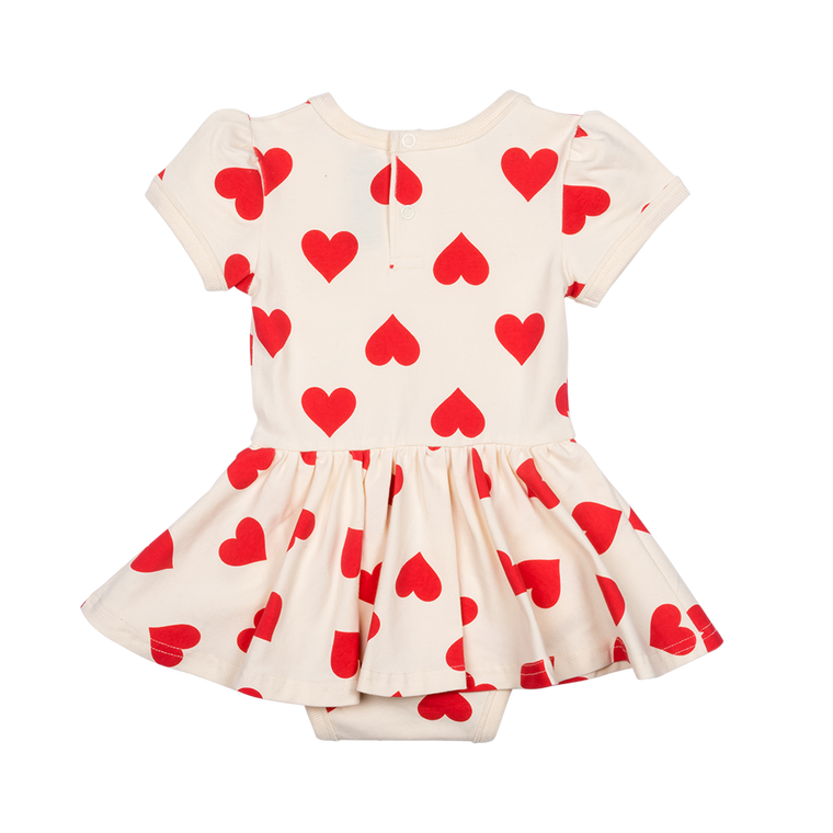 ROCK YOUR BABY - Sweetheart Short Sleeve Waisted Dress BABY / Oatmeal (LAST ONE 6/12M)