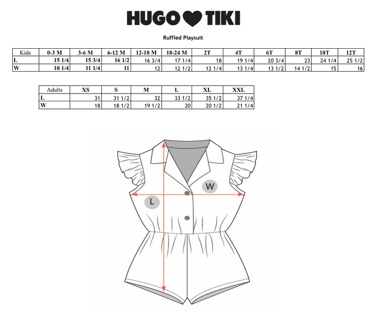 HUGO LOVES TIKI - Ruffled Playsuit / Red + White Stripes