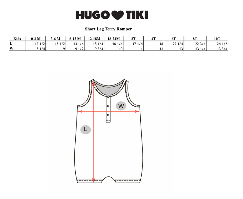 HUGO LOVES TIKI - Short Leg Terry Romper / Pastel Stripes (LAST ONE 6/12M)