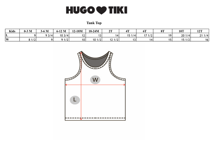 HUGO LOVES TIKI - Tank Top / Blue Rainbow Chest (LAST ONE 6/12M)
