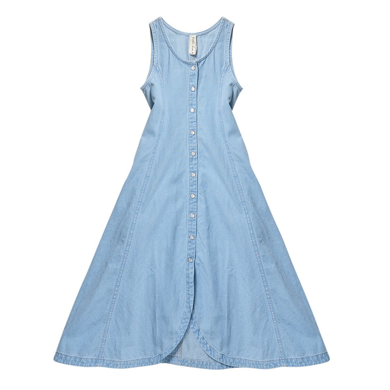 FEATHER DRUM - Tilly Sleevesless Button-Through Maxi / Denim (LAST ONE 3Y)