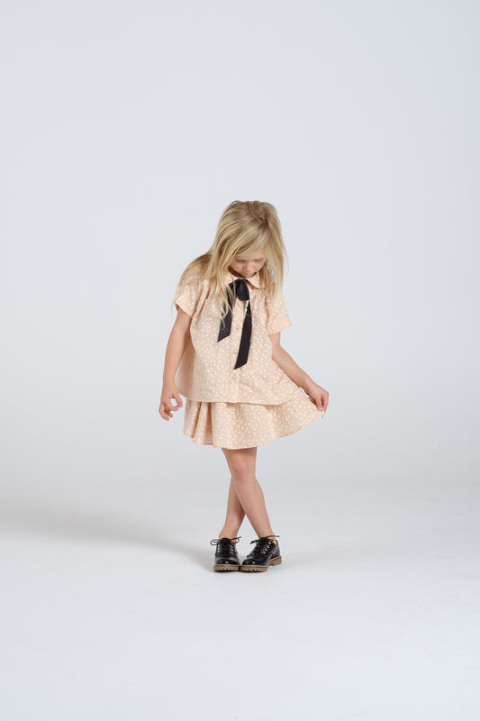 RYLEE + CRU - Scatter Collared Blouse / Blush (LAST ONE 6/7Y)