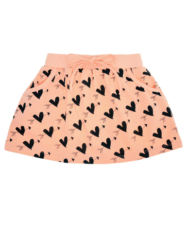 GARDNER AND THE GANG - Cupid Heart Skirt / Apricot (LAST ONE 6-8Y)