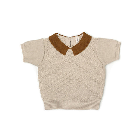 FIN & VINCE - Knit Collar Top / Honeycomb