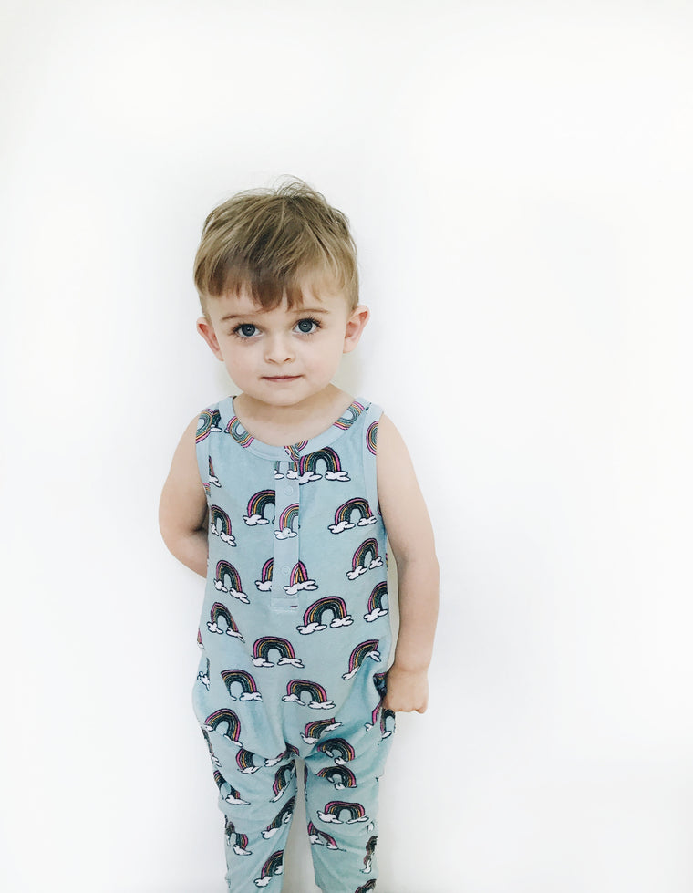 HUGO LOVES TIKI - Long Leg Terry Romper / Blue Rainbows