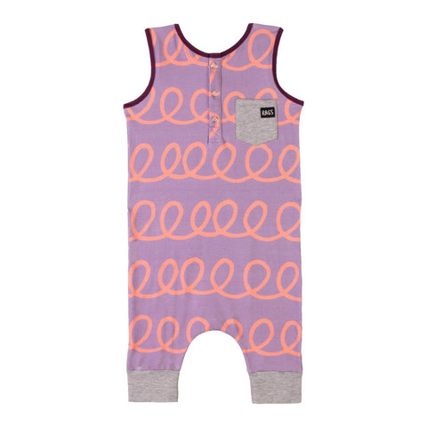 RAGS TO RACHES - Tank Henley Romper 'RAGS' / Purple Swirl (LAST ONE 3-6M)