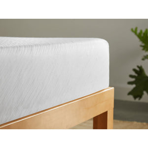"Sleep Inc. by Corsicana 8"" Firm Gel Memory Foam Mattress Corner Detail In Bedroom"