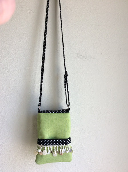 "USA Made Shoulder Purse ""Buttons - Black and Green"""