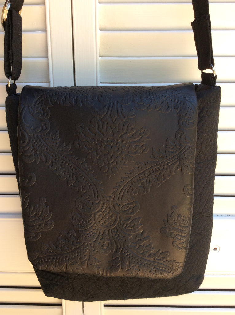 "Handmade Fabric and Leather Cross-Body Purse ""Midnight Black"""
