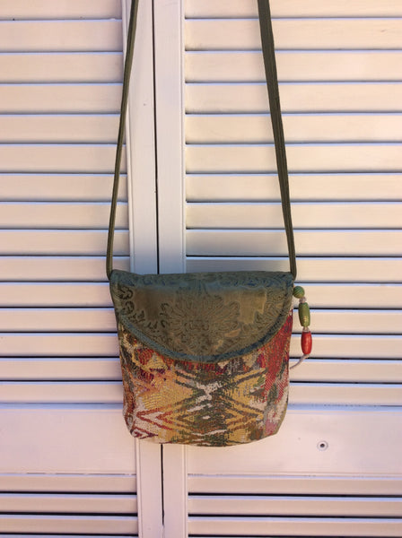 "Handmade Fabric and Leather Shoulder Bag ""Moss Green"""