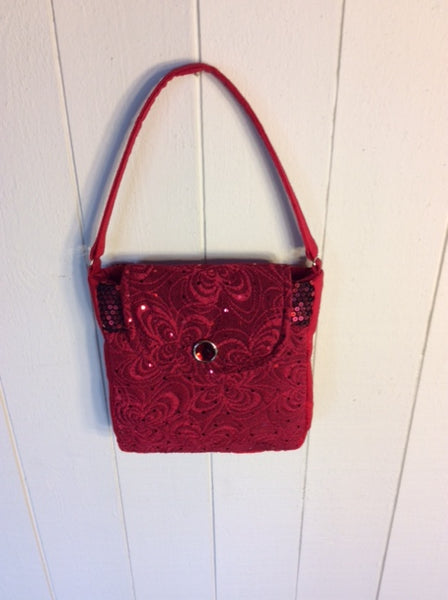"Red Sparkle Purse ""Silk and Sequins"""