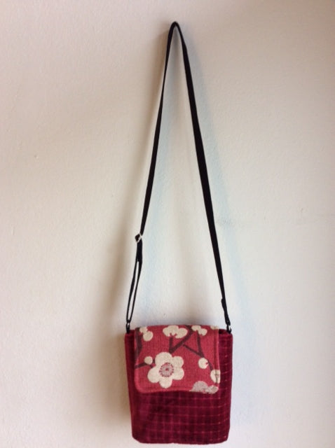 "USA Made Cross Body Bag ""Cherry Blossoms 2"""