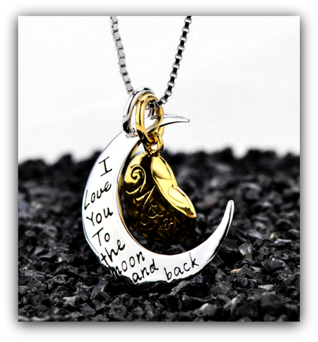 """I LOVE YOU TO THE MOON AND BACK"" MOM NECKLACE WITH MOON HEART PENDANT ( FREE SHIPPING )"