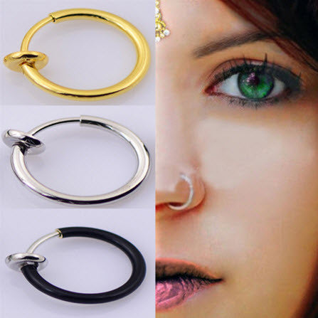 "New Clip On Fake Nose Hoop Ring Ear Septum Lip Navel Earrings Body Non Piercing  ""FREE SHIPPING"""