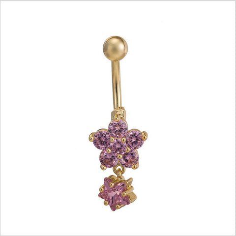 Star Flower CZ Piercings Jewelry Womens Sexy Belly Button Ring Long Dangle Clear Navel Bar Gold Dangle Body Jewelry Piercing