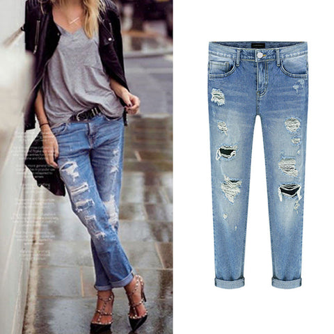 "New Fashion Women Casual Slim Pencil Pants Skinny Ripped Jeans Denim Trousers  ""FREE SHIPPING"""