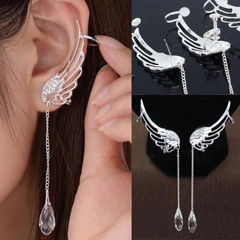 "Beautiful Top Quality Angel Wing Dangle Drop Crystal Silver Earrings ""FREE SHIPPING"""
