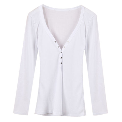 Autumn Women Sexy Deep V-Neck Blouses Casual Solid Shirts Bottoming Long Sleeve Top * FREE SHIPPING *