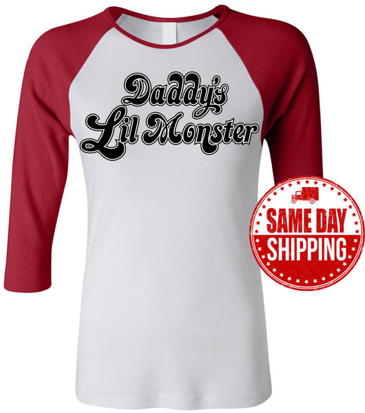Harley Quinn Shirt, Daddy's Lil Monster T Shirt, Suicide Squad Shirt. Ladies Baseball Shirt 3/4 Sleeve Shirt. Daddys Lil Monster Shirt.