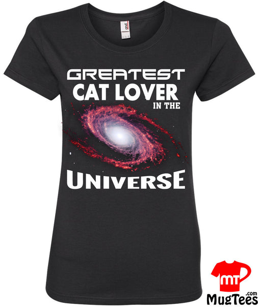 Worlds Greatest Cat Lover T-Shirt Greatest Cat Lover in the Universe Shirt T Shirt Crazy Cat Lady Womens Space Planets TShirt Christmas Gift