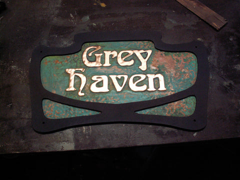 copper art nouveau lettering sign